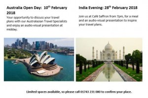Upcoming Events 2018 | Peakes Travel Elite | Travel Experts