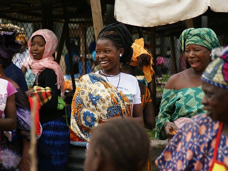 Ladies in a market in Gambia, Africa