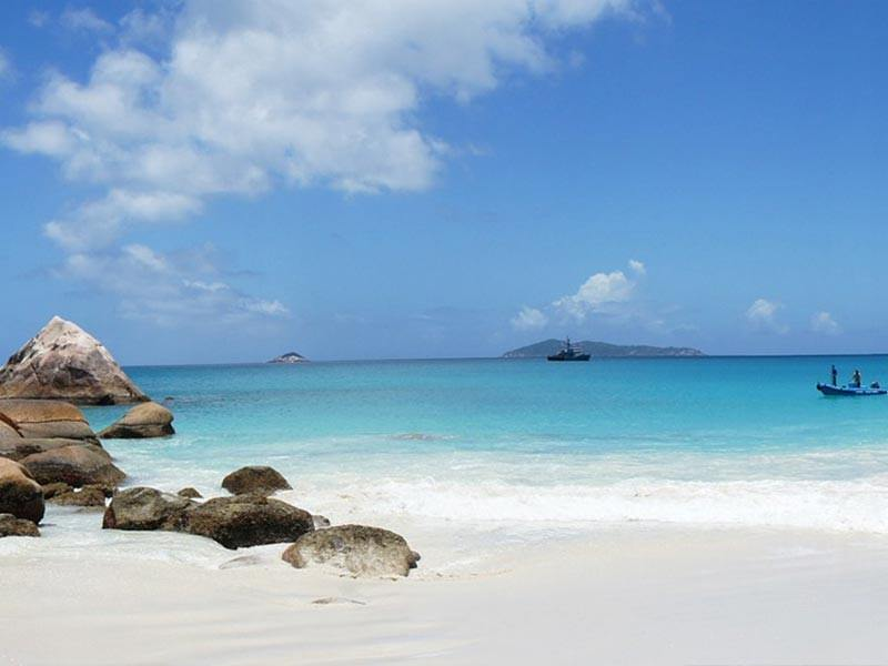 White beach in the Seychelles