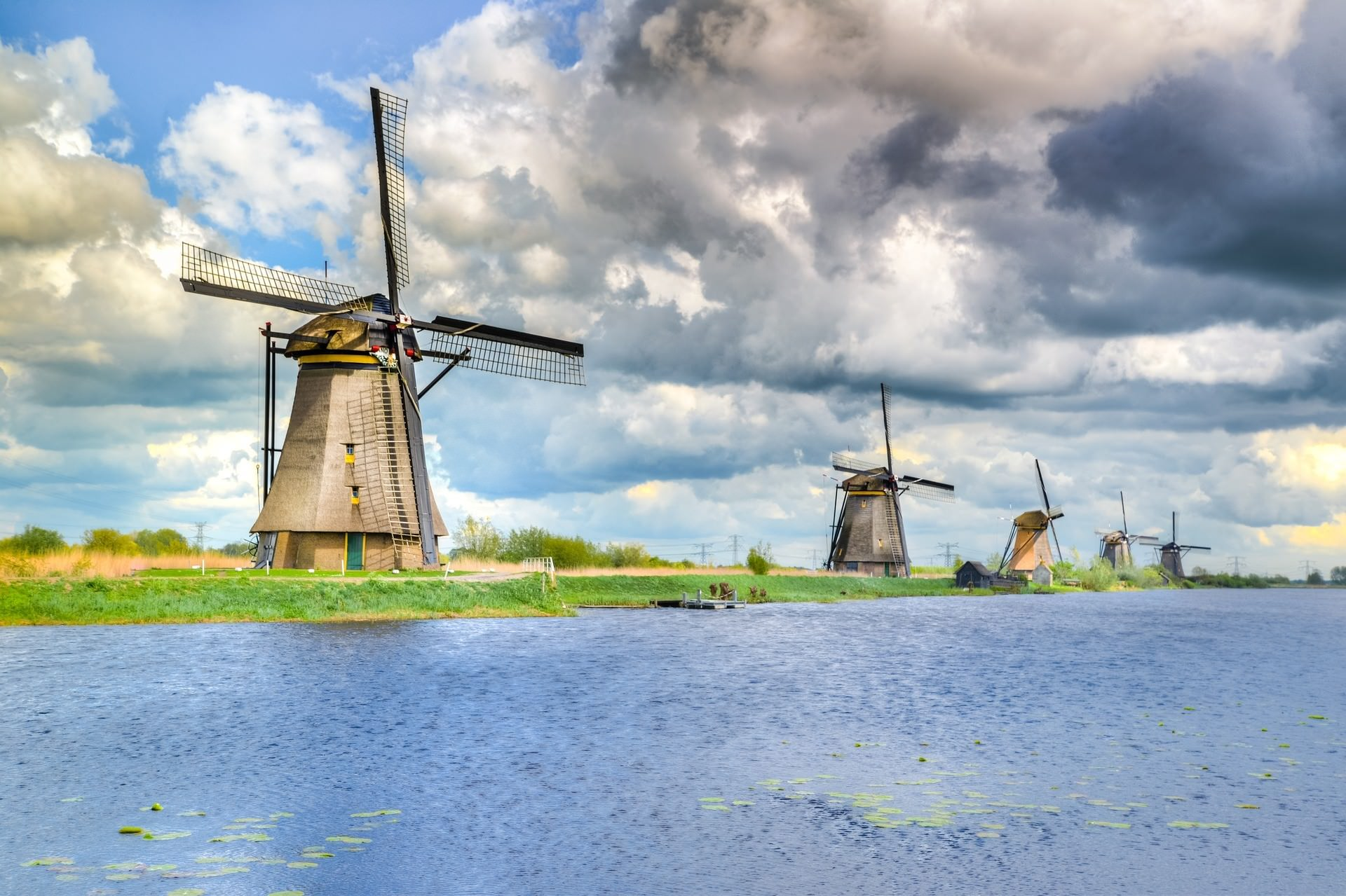 Windmills in Kinderdiik, The Netherlands