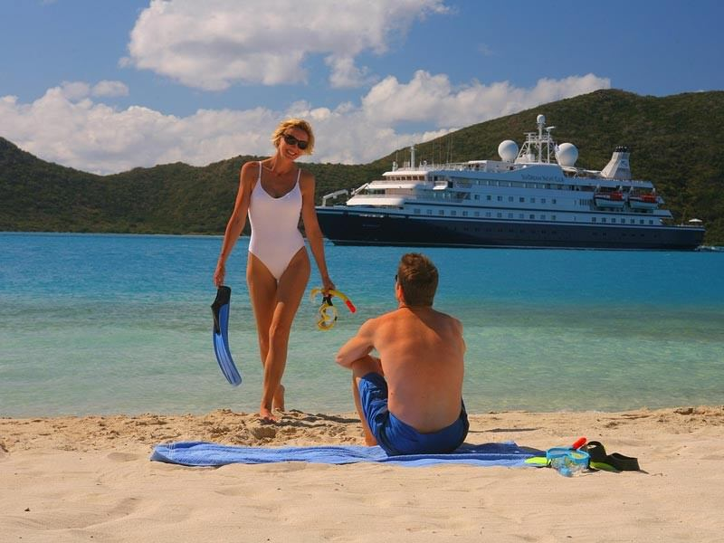 Beach front with Cruise ship